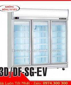 Tủ đông inox 3 cánh kính BERJAYA 3D/DF-SG-EV || Tủ đông trưng bày