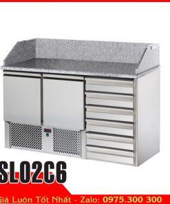 Tủ bàn mát inox mặt đá hoa cương SL02C6