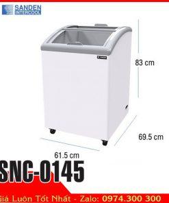 tủ đông kem kính cong 140 lít sanden intercool SNC-0145