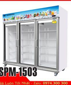 Tủ mát 3 cửa Sanden Intercool SPM-1503 trưng bày hoa trái cây nước ngọt bia lạnh