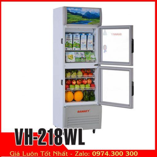 Tủ mát 2 cửa kính 200 lít sanaky VH-218WL