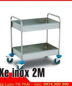 Xe inox 2 tầng vận chuyển chén dĩa thức ăn 2M