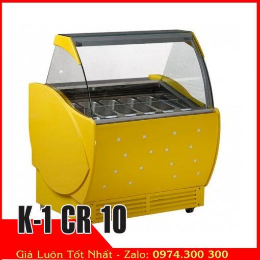 k-1-cr-10 tủ đông kem ý kính cong 10 khay inox