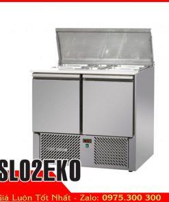 bàn lạnh inox có khay chế biến piza chè toping sl02eko