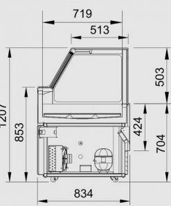 bản vẽ kỹ thuật tủ mát trưng bày thức ăn