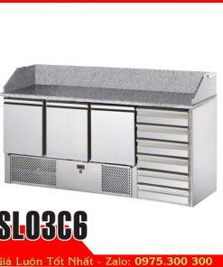 tủ mát bàn lạnh inox mặt đá hoa cương