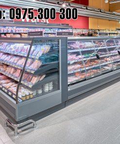 tủ mát siêu thị carrier tự chọn thực phẩm