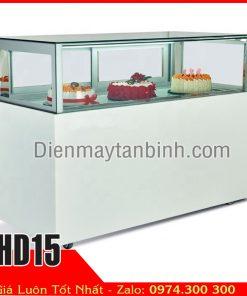 tủ mát 4 mặt kính 1 tầng trưng bày bánh kem gato socola