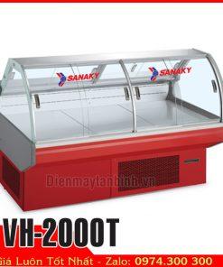 tủ mát kính cong trưng bày thịt heo Sanaky vh-2000T