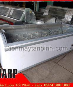 Tủ đông cũ kính cong dài 2m5 trưng bày thực phẩm đông lạnh iarp