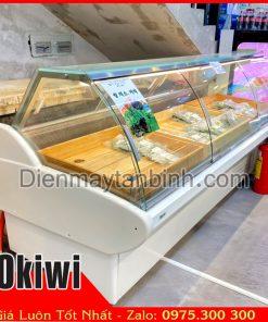 Bán cho thuê thanh lý tủ mát kính cong trưng bày thịt heo Okiwi (dài 2,5m)