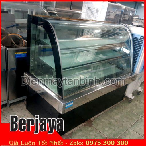 bán tủ bánh kem cũ 3 tầng kính cong dài 1m8 hiệu Berjaya