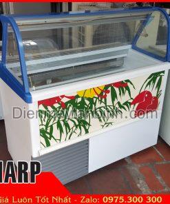 bán than lý tủ đông kem ý gelato kính cong 7 khay